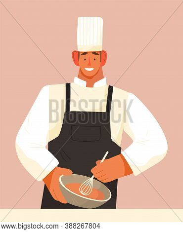 Chef Man Cook Meal, Isolated Cartoon Character Smiling, Guy Mixing Ingredients Of Products In Bowl,