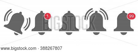 Bell Notification Icon Vector. Message Alert Notice. Subscribe Reminder Attention App. Web Alarm Inb