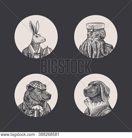 Grizzly Bear With A Beer Mug. Octopus Sailor And Hare Or Rabbit Waiter. Dog Officer. Fashion Animal