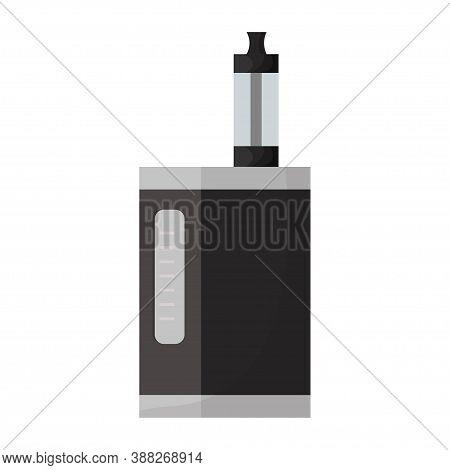 Vaporizer Electric Cigarette, E-cigarette In Black Colour Isolated On White Background. Nicotine Equ