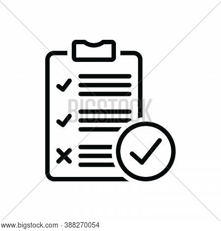 Black Line Icon For Survey Analysis Check Inquiry Review Report List Clipboard Document Note Paper F