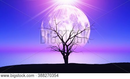 3D render of an old gnarly tree against a moonlit landscape