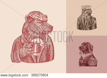 Grizzly Bear With A Beer Mug. Octopus Sailor. Dog Officer Fashion Animal Character. Hand Drawn Sketc