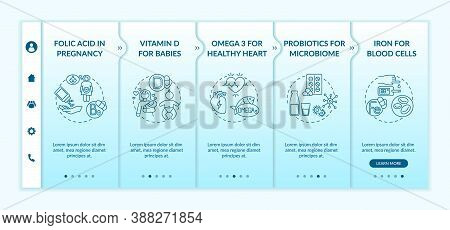Vitamins And Supplements Onboarding Vector Template. For Newborns, Microbiome, Blood Cells. Responsi