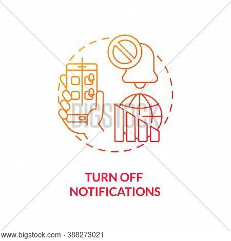 Turn Off Notifications Concept Icon. Smartphone Dependence Reducing Idea Thin Line Illustration. Swi