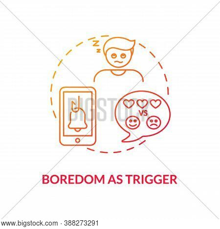 Boredom As Trigger Concept Icon. Social Media Addiction Idea Thin Line Illustration. Mindlessly Scro