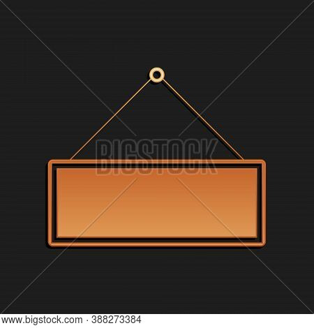 Gold Signboard Hanging Icon Isolated On Black Background. Suitable For Advertisements Bar, Cafe, Pub