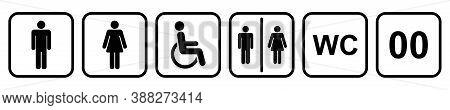 Wc Toilet Sign. Vector Male Female Bathroom. Woman Men Restroom. Black Silhouette On White Backgroun