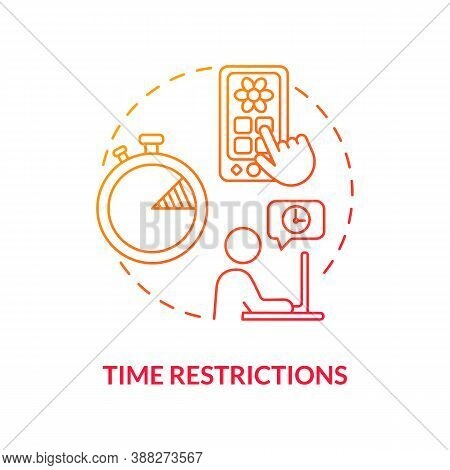 Time Restrictions Concept Icon. Parental Control Element Idea Thin Line Illustration. Self-control.