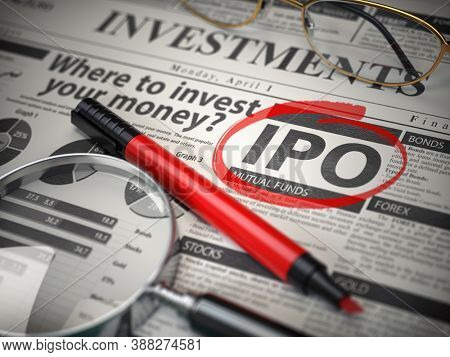 IPO Initial public offering concept. Where to Invest concept, Investments newspaper with loupe and marker. 3d illustration