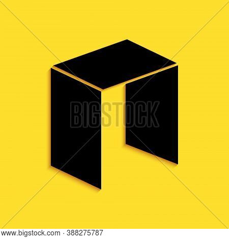 Black Cryptocurrency Coin Neo Icon Isolated On Yellow Background. Physical Bit Coin. Digital Currenc