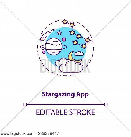 Stargazing App Concept Icon. Gadget Function Idea Thin Line Illustration. Stars And Constellations I