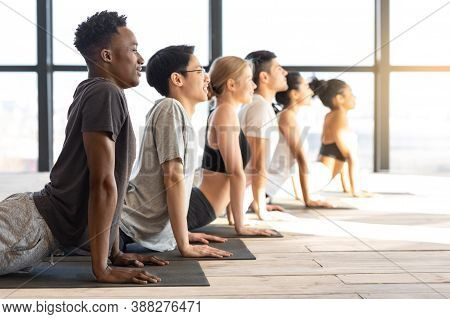 Side View Of Sporty Multiethnic People Practicing Yoga In Cobra Pose, Training Together In Modern Li