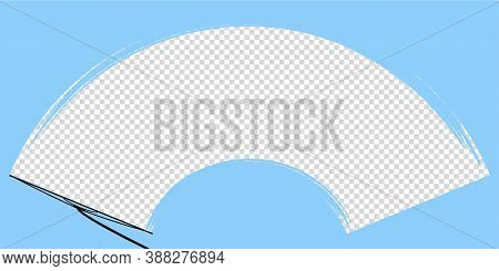 Car Wiper On Windscreen Or Windshield Vector Illustration. Rain Water On Front Glass. Clean Dirt Dus