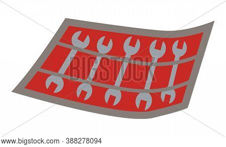 Wrench Vector Illustration Of Metallic Mechanic Tool. Isolated Metric Spanners For Bolts And Nuts Or