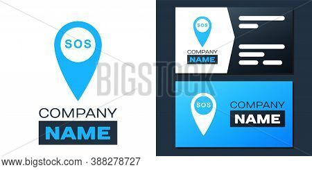 Logotype Marker Location With Sos Icon Isolated On White Background. Sos Call Location Marker. Map P