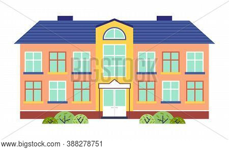Kindergarten Or School Building Cartoon Flat Style Vector Illustration Isolated On White. Two-story