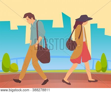 People Walking In A City Park. Sad Tired Young Guy And Thoughtful Girl Going In Summer Alley. Man An