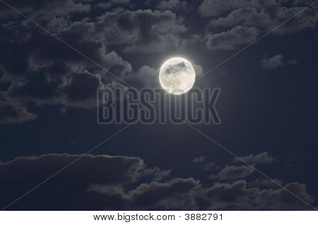 Moon At Night With A Cloudy Sky