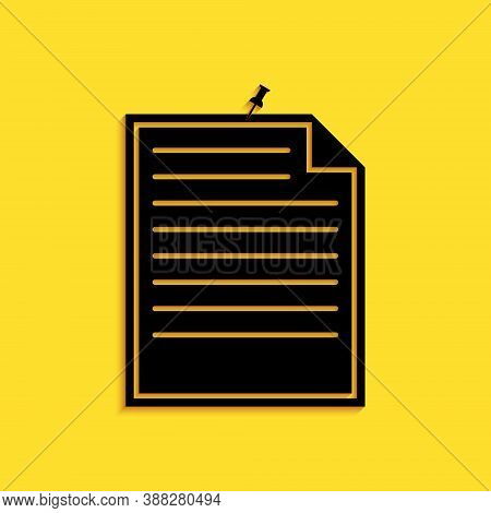 Black Note Paper With Pinned Pushbutton Icon Isolated On Yellow Background. Memo Paper Sign. Long Sh