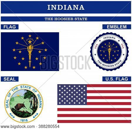 Indiana Symbol Collection With Flag, Seal, Us Flag And Emblem As Vector.