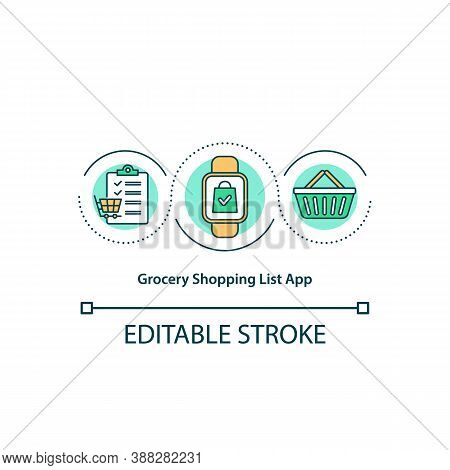 Grocery Shopping List App Concept Icon. Smartwatch Grocery Store Program. Essential Shop Purchases P