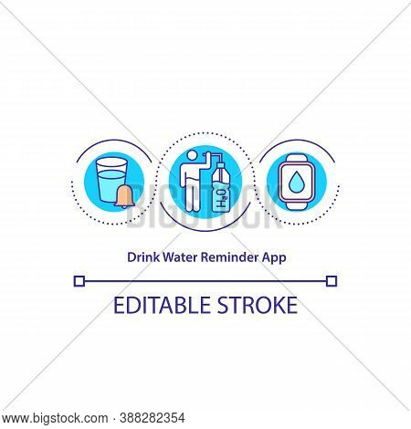 Drink Water Reminder App Concept Icon. Healthy Lifestyle Tool. Proper Hydration. Smart Watch Applica