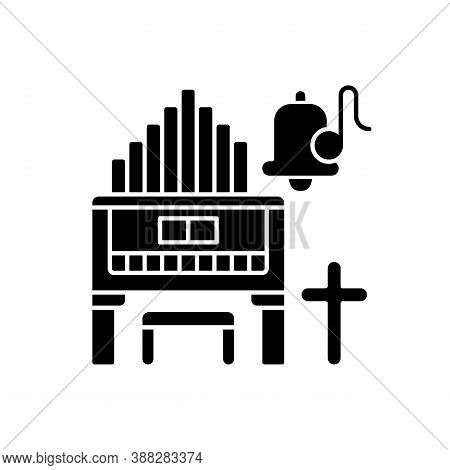 Religeous Music Black Glyph Icon. Huge Organs. Piano Types. Bell With Song Note. Christian Music. Cr