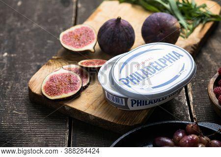 Kiev, Ukraine - September  26 2020: Philadelphia Snacks With Bruschetta, Figs. Delicious Breakfast,