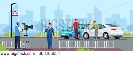 Car Crash Semi Flat Vector Illustration. Reportage From Highway. Television Crew Members. Tv Cameram