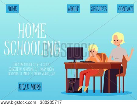 Homeschooling And Learning Web Page With Kid Learning Flat Vector Illustration.