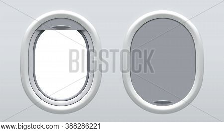 Set Of Vector Realistic Airplane Window Portholes With Curtains In Two Positions. Blank Aircraft Win