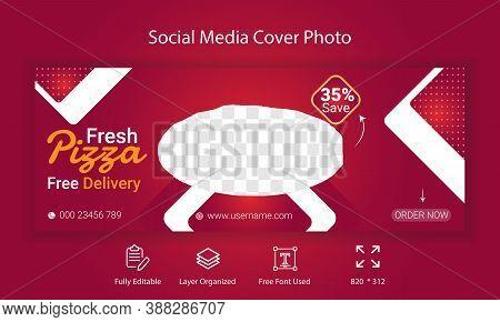 Fresh Pizza Social Media Cover Photo Template Design. Restaurant  Business Timeline Cover Photo .Promotional Branding Web banner