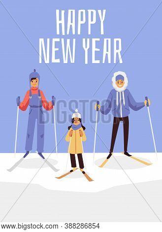 Happy New Year Card With Cartoon Family On Ski Slope In Winter