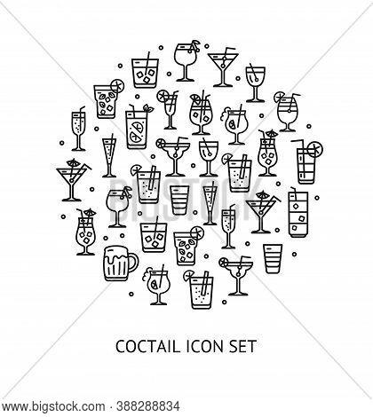 Alcohol Cocktail Round Design Template Black Thin Line Icon Banner Include Of Cosmopolitan, Daiquiri