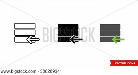 Database Import Icon Of 3 Types Color, Black And White, Outline. Isolated Vector Sign Symbol.