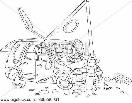 Car Crashed Into A Lamppost On A Road, Black And White Outline Vector Cartoon Illustration For A Col