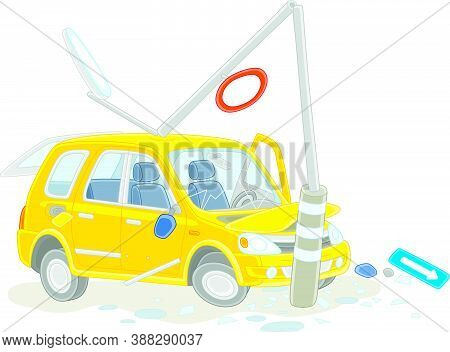 Yellow Car Crashed Into A Lamppost On A Road, Vector Cartoon Illustration Isolated On A White Backgr