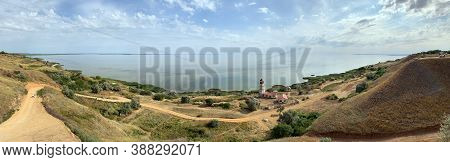 Panoramic Views Of The Hilly Plain And The Sea. Summer Landscape, High Hilly Banks. Wonderful Sea Vi