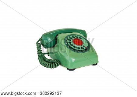 Old Telephone With Rotary Dial  On White Background