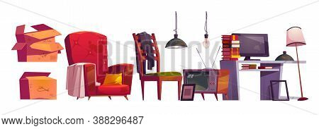 Old Furniture, Archive Storage On House Attic. Vector Cartoon Set Of Vintage Armchair, Table With Bo