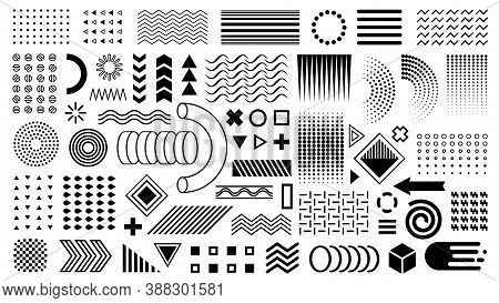 Vector Memphis Set. Geometric Shapes, Design Elements. Flat Shapes Black Layout. Zigzags, Waves, Cir