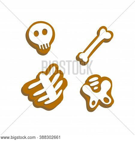 A Collection Of Gingerbread Men, Skeletons, Ghosts And Bones. Halloween. A Set Of Cookies. Popular O