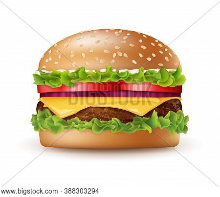 Realistic Detailed 3d Tasty Big Burger Include Of Meat, Bread, Lettuce And Tomato. Vector Illustrati