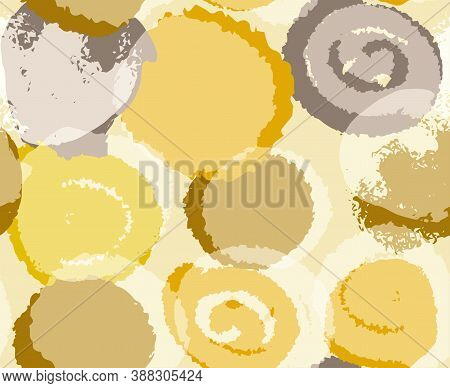 Seamless Pattern In Boho Style In Natural Shades For Clothing And Surface Design With Irregular Circ