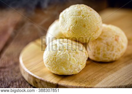 Cheese Bread, Bread Made From Baked Cheese Common In Latin America, On Rustic Wooden Background