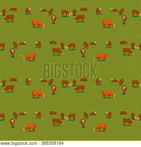 Hand Drawn Milk Cow Seamless Vector Pattern. Domestic Dairy Animals Cartoon Illustration Design Elem