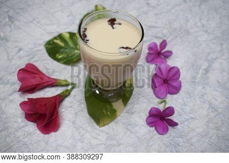 Badam Milkshake Indian Bevarage Flavored With Almond, Cardamom, Rose Petals.rich Health Populare Tra