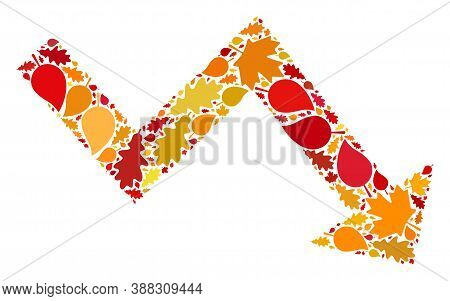Recession Arrow Mosaic Icon Combined For Fall Season. Vector Recession Arrow Mosaic Is Made Of Rando