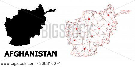 Network Polygonal And Solid Map Of Afghanistan. Vector Structure Is Created From Map Of Afghanistan
